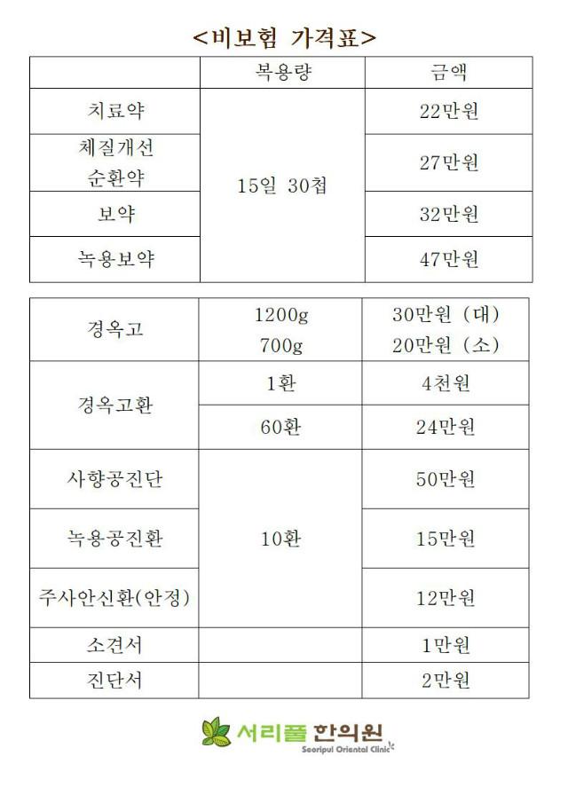 2018년 서리풀한의원 비보험(약, 공진단, 경옥고) 한약가격표_0001.jpg